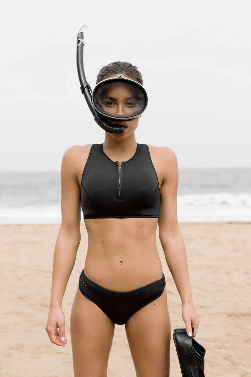 High neck zip front racerback bikini top with snorkel - Yulex Sustainable Fabric - SLO ACTIVE