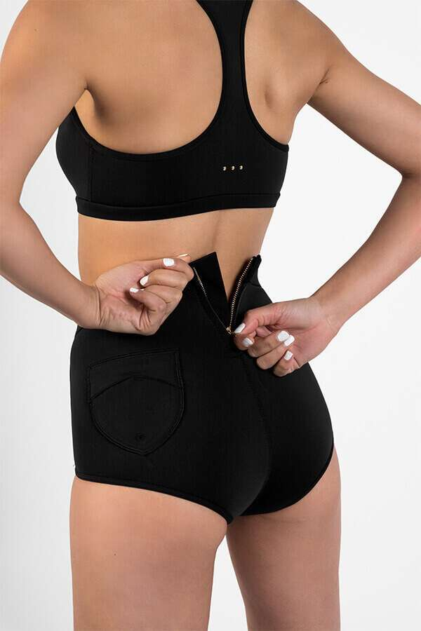 High waist sustainable surf shorts with hidden key loop and rare zip - Made with Yulex (SLO ACTIVE)