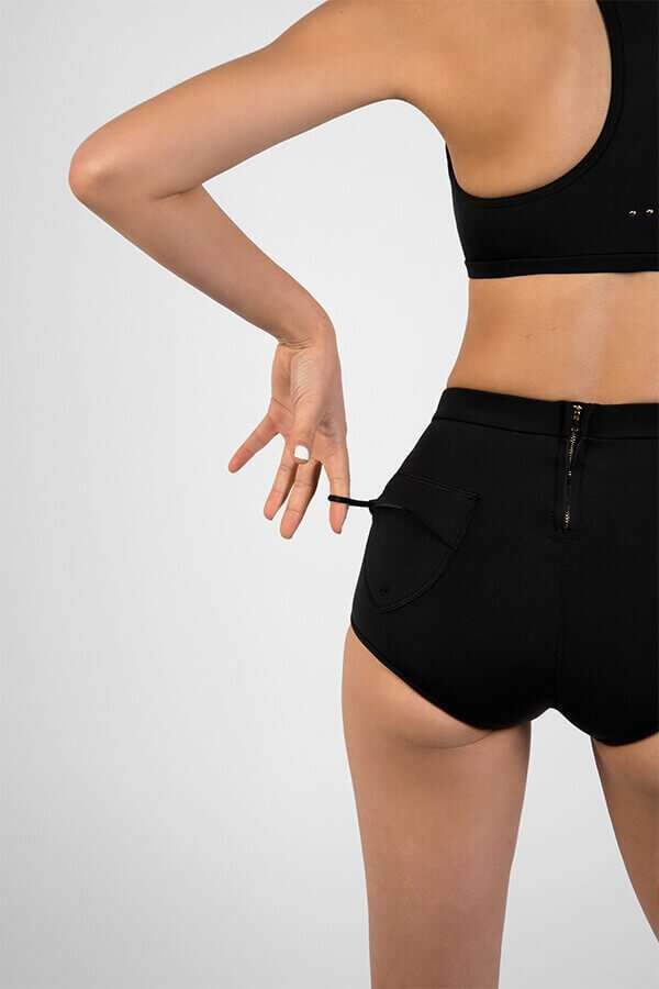 High waist surf shorts with hidden key loop and rare zip - Made with Yulex (SLO ACTIVE)