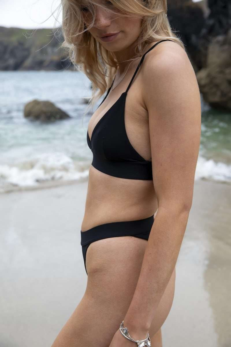 Sustainable cheeky thong bikini bottom and bralette top in black for surfing and yoga - sustainable swimwear