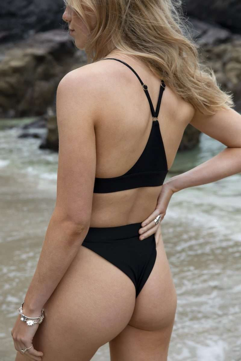 Sustainable cheeky thong bikini bottom and bralette top in black for surfing and yoga (rare) - sustainable swimwear